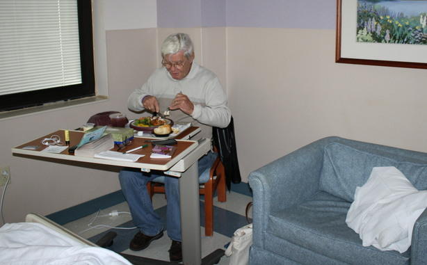 Dad eating hospital dinner